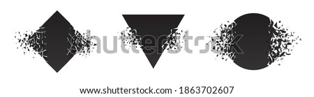 Shape shattered and explodes flat style design vector illustration set isolated on white background. Square rhombus, circle, triangle shapes in grayscale gradient exploding. Stockfoto ©