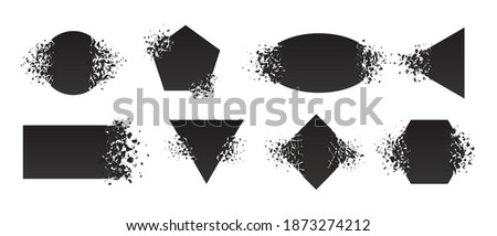 Shape shattered and explodes flat style design vector illustration set isolated on white background. Square rhombus, triangle, rectangle, hexagon, ellipse shapes in grayscale gradient explosion. ストックフォト ©