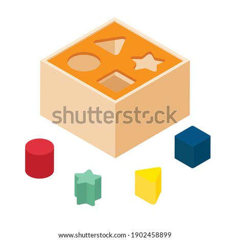 Shape sorter puzzle toy isolated on white isometric view. Vector Foto stock ©