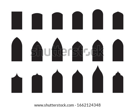 Shapes of architectural types of Gothic style arches and windows. Big set of characteristic architectural forms. Vector illustration Zdjęcia stock ©