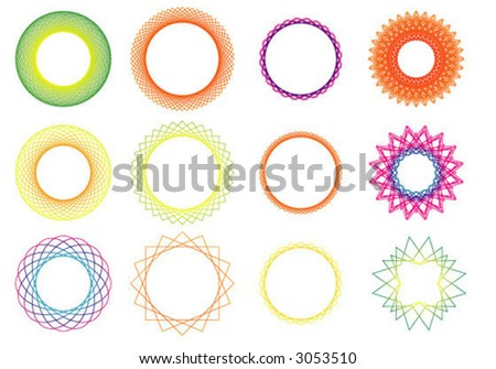 shapes rotated to form circular patterns