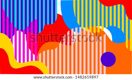 Shapes Vector Abstract Geometric Technology Background.  Modern Style Dynamic Tech Wallpaper. Vintage pattern. Retro pattern. Seamless print. Bright colors.