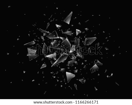Shards of broken glass. Abstract explosion. Realistic vector background