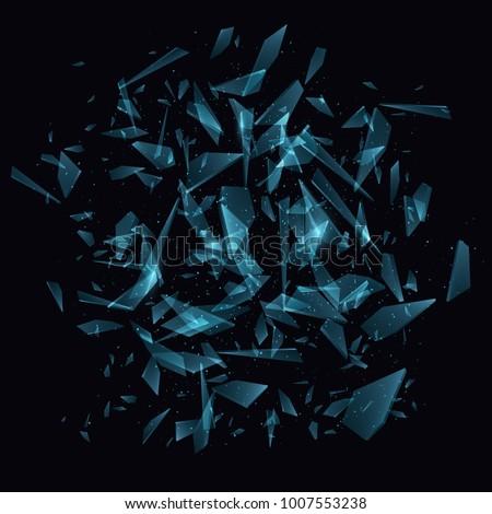 Shards of broken glass. Abstract explosion. Vector illustration