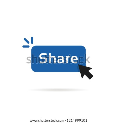 share blue button with cursor arrow. simple flat modern repost now logotype graphic design element isolated on white background. concept of show viral or interesting content to friends or other users