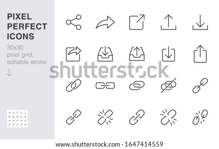 Share button line icon set. Link, broken hyperlink, download, publish, attach chain minimal vector illustrations. Simple outline signs for web application url. 30x30 Pixel Perfect. Editable Strokes.