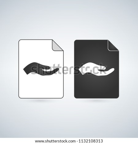 Share Document file vector icon with hand. flat sign for mobile concept and web design. Paper doc simple solid icon. Symbol, logo illustration.