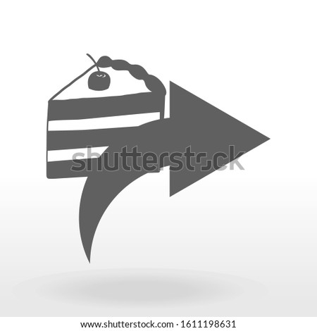 share icon.button for websites.arrow with cake.black and white image.vector image.
