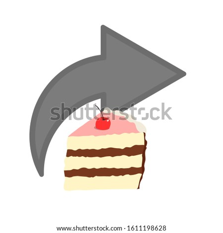 share icon.button for websites.arrow with cake.color image.vector image.
