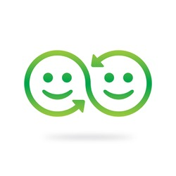 Share icon. Connection and interaction vector symbol. Smile face swap.