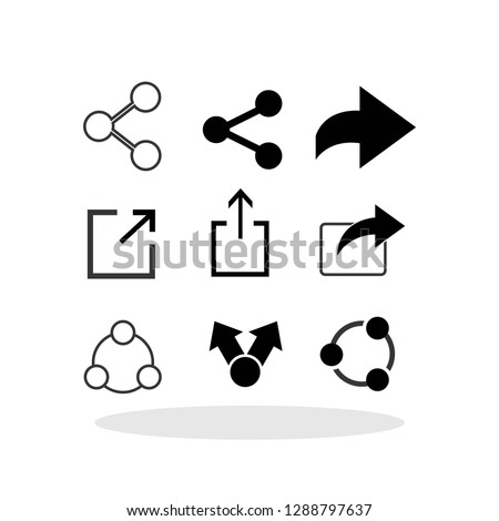 Share icon set in flat style. Sharing symbol for your web site design, logo, app, UI Vector EPS 10.