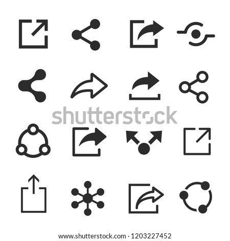 Share icon set, web and media symbol. User interface icon to convey, a button for performing a share action. Vector line art illustration isolated on white background