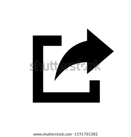 share icon. Share icon with square and arrow vector illustration on white background
