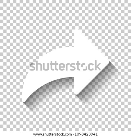 Share icon with arrow. White icon with shadow on transparent background