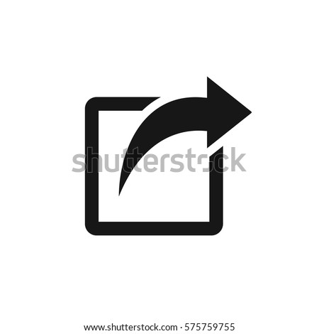 Share icon with square and arrow vector illustration on white background
