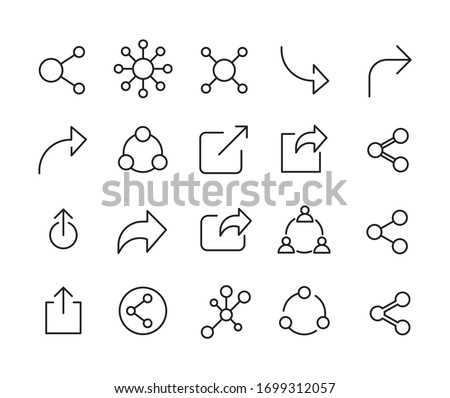 Share line icons set. Stroke vector elements for trendy design. Simple pictograms for mobile concept and web apps. Vector line icons isolated on a white background.