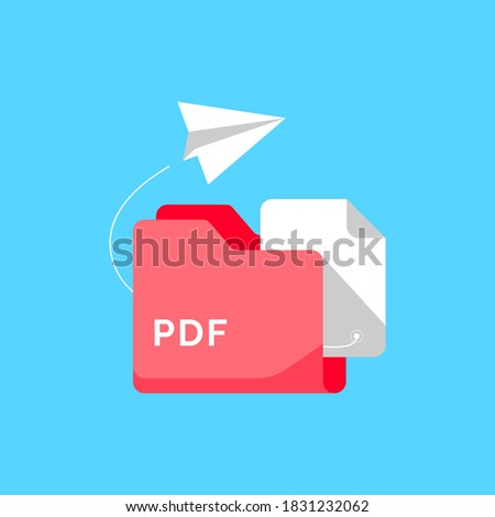 share or send with PDF document file format concept metaphor illustration flat design vector. simple style of graphic element, icon, logo, symbol, sign