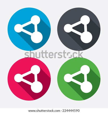 Share sign icon. Link technology symbol. Circle buttons with long shadow. 4 icons set. Vector
