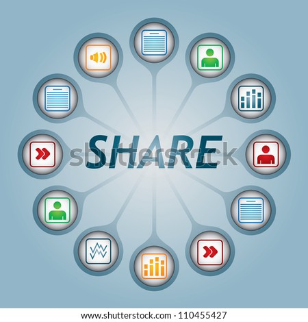 Share sign with document icons - communication concept