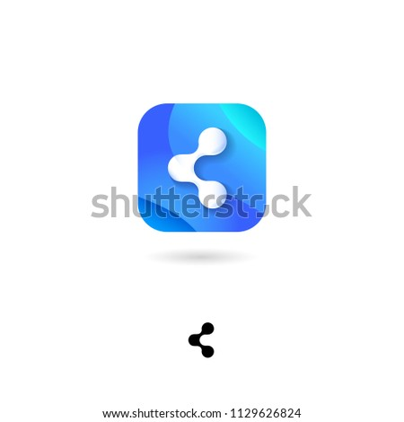 Share, UI icon. Sharing, Social Media, distribute emblem. Share, communication pictogram. Rounded square symbol with shadow on a white background. Web button.