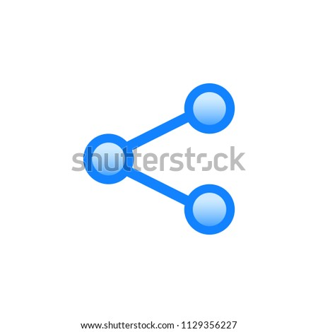Share vector pictogram. Blue line icon with gradient fill of set Simple Line Filled