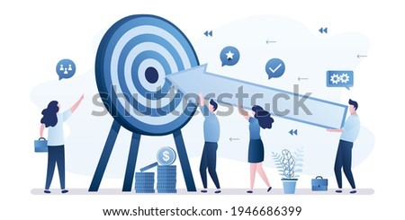 Shared goals, company strategy. Boss leads subordinates. Tiny business people holds huge arrow and aim at target. Successful team develop achievement startup. Marketing campaign. Cooperation, teamwork Stock photo ©