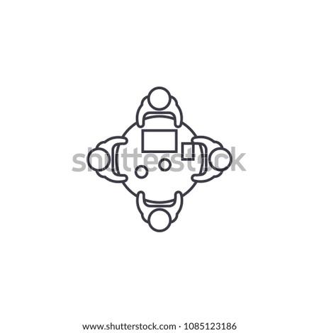 shareholders vector line icon, sign, illustration on background, editable strokes