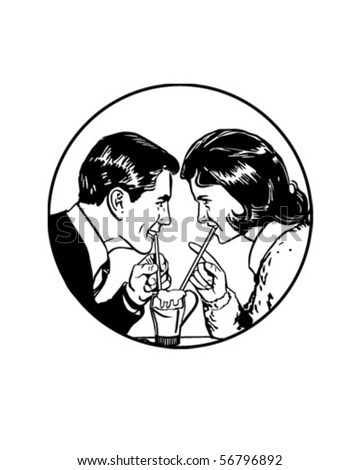 Sharing A Soda - Retro Clip Art