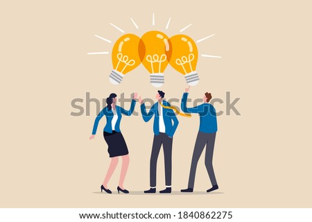 Sharing business ideas, collaboration meeting, sharing knowledge, teamwork or people thinking the same idea concept, smart thinking businessmen people office workers team up share lightbulb lamp idea. Stockfoto ©