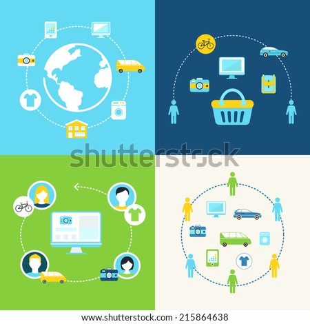 Sharing Economy and Collaborative Consumption Concept Illustration Stock photo ©
