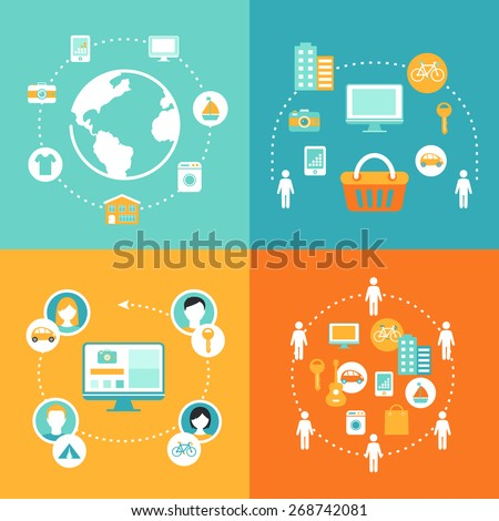 Sharing Economy and Collaborative Consumption Concept Illustrations Set Stock photo ©