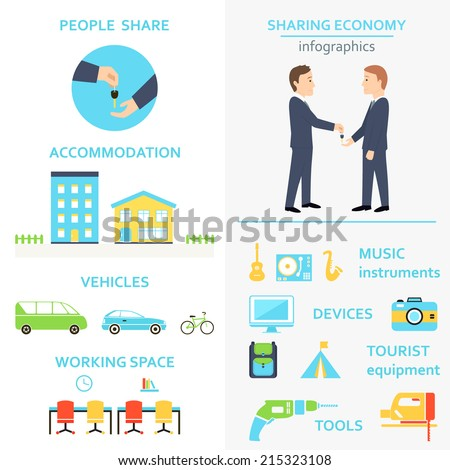 Sharing Economy and Collaborative Consumption Infographics Set Stock photo ©
