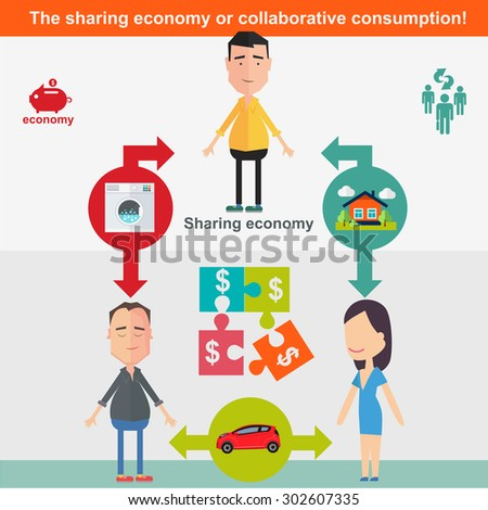 Sharing economy and smart consumption concept. Vector illustration in flat style. Stock photo ©