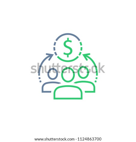 Sharing economy concept, financial management, mutual fund, corporate service, new business investment, crowd sourcing, market research, vector line icon
