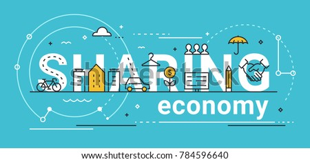 Sharing Economy Line Vector Concept Illustration.