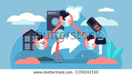 Sharing economy vector illustration. Flat tiny access finance persons concept. B2B company financial assets strategy platform as mode of consumption. Corporate market exchange service and goods method