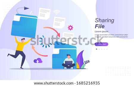 Sharing file, file transferred encrypted form, transfer of documentation, migration concept, Suitable for web landing page, ui, mobile app, banner template. Vector Illustration.