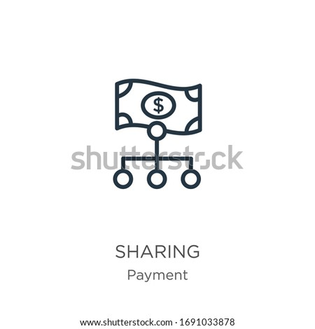 Sharing icon. Thin linear sharing outline icon isolated on white background from payment collection. Line vector sign, symbol for web and mobile