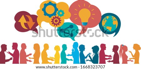 Sharing ideas.Communication network diversity people.Network teamwork.Multiethnic.Connection and exchange ideas-data-questions-thoughts.Future technology.Mind Map.Upload download data Photo stock ©