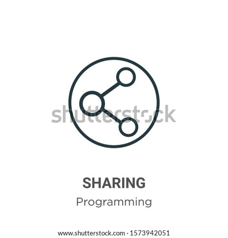 Sharing outline vector icon. Thin line black sharing icon, flat vector simple element illustration from editable seo concept isolated on white background