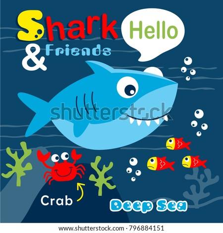 shark and friends funny cartoon,vector illustration