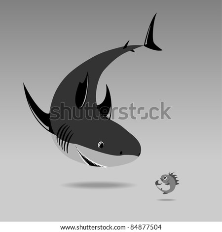 shark and small fish in shades of gray