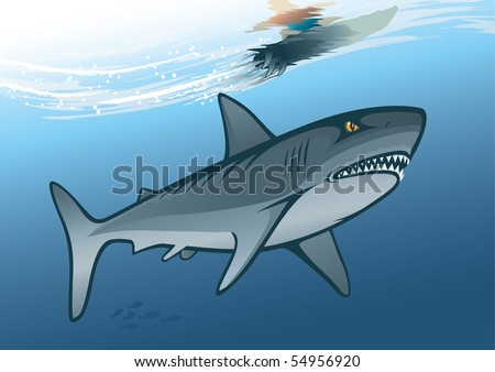 "Shark and surfer riding on water wave. ""Full compatible. Created with linear gradients. Named in layers"""