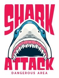 shark attack poster / t shirt vector design