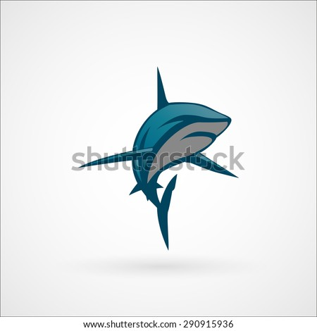 shark blue logo sign vector