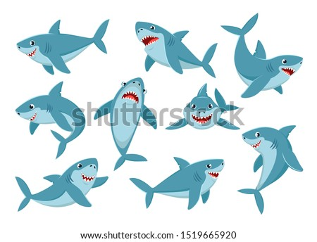 Shark. Cartoon ocean fish character. Comic sharks emotions. Shark fish mascot. Sharks for baby, kids and family.  Vector illustration isolated icons set