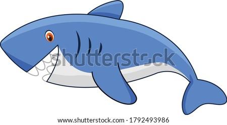 Shark cartoon vector art and illustration