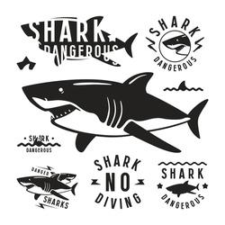 Shark dangerous emblems, labels and design elements. Black print on white background