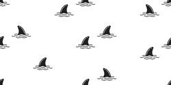 shark fin dolphin whale ocean wave vector seamless pattern wallpaper background