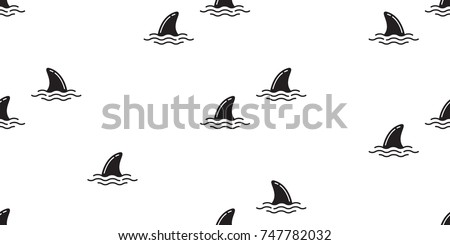 shark fin dolphin whale ocean wave vector seamless pattern wallpaper background